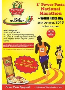 Power Pasta half-marathon, Port Harcourt (Nigeria) 26/10/2013