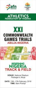 Sélections pour les Jeux du Commonwealth (Nigeria) 14-16/02/2018